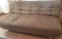 Sofá-cama casal, semi novo, tecido suede cor marrom. Acompanha manta e 0b79e80624