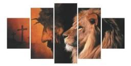Quadros decorativos leão de Judá e Jesus + cruz religiosa