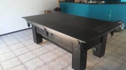 Mesa Charme de Sinuca e Jantar Cor Preta Tecido Verde Mod. CAVG1357