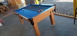 Mesa Tentação de Sinuca Cor Cerejeira Tecido Azul Mod. ABSF7195