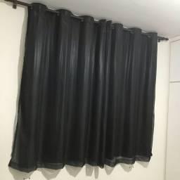 cortina preta dupla + varão simples