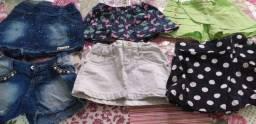 Vendo 1 short 1 saia 4 saias calça infantis