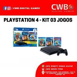Playstation 4 1TB kit 3 jogos,Novo lacrado e com garantia de 01 ano,Loja Física