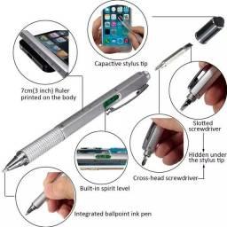 Caneta multi-funcional 6x1 touch, chave de fenda, philips, régua e medidor de nível