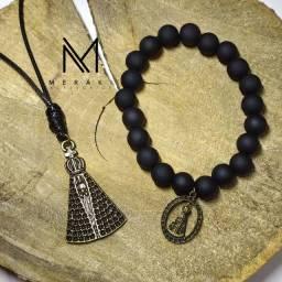 Kit colar e pulseira Nossa Senhora masculino/feminino