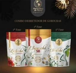 Kit completo 3 fases super chá maravilhas da terra frete grátis a pronta entrega