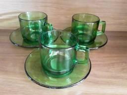 Xícaras Para Chá Vidro Verde France