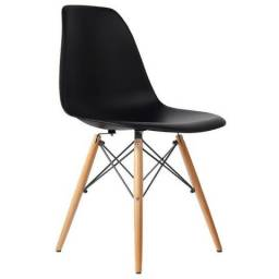 Cadeira nova Charles Eames Wood Design Cores preta e branca