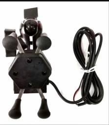 Suporte p/ com carregado USB pra moto de metal