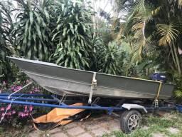 Bote/ barco alamar 400 utilitário alumínio e motor popa yamaha 15hp - 2011