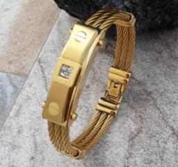 Pulseira Masculina invicta banhado a ouro 18k - Entregamos Grátis em Determinados locais