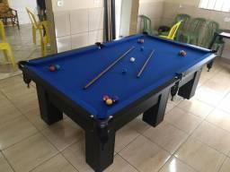 Mesa de Bilhar Charme Pro Oficial Tecido Azul cor Preto Tx
