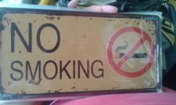 Placa no smoking,em metal,formato placa de carro