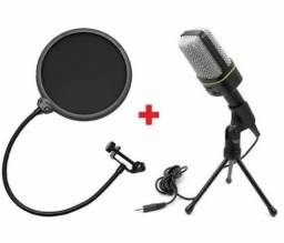 Título do anúncio: Microfone Condensador Com Tripé e Filtro Anti Puff