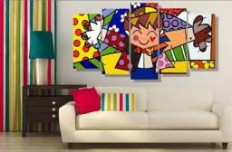 Quadro Decorativos Romero Britto o abraço sala hall quarto