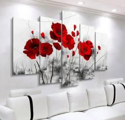 Quadros Decorativos flor papoula vermelha sala cozinha mosaico 5 peças