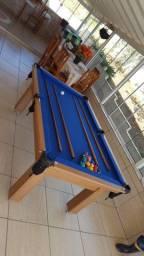 Mesa Tentação de Bilhar Cor Cerejeira Tecido Azul Mod. CHDH4641