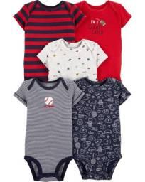 Kit de bodies bola de baseball, 5 peças Carters, tamanhos 12 e 18 meses