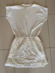 Vestido bege crepe de seda