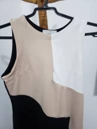 Vestido preto branco e bege