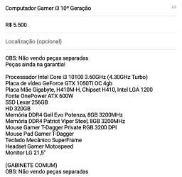 COMPUTADOR GAMER I3 10? GERAÇÃO