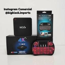Promoção Kit TV Box Mx9 4k 5G Ultra HD Android TV 10.1 + Mini Teclado com led