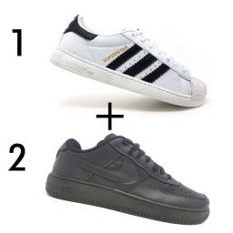 Kit 2 Tênis 1 Adidas Superstar Branco + 1 Nike Air Force 1'07 Preto<br><br>