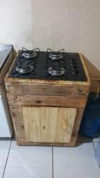 Fogão cooktoop com movel palet