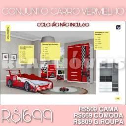 Título do anúncio: Conjunto carro vermelho conjunto carro vermelho conjunto carro vermelho- *