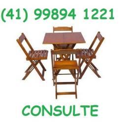Conjuntos de mesa com cadeiras de madeira dobravel