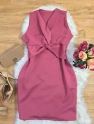 Vestido Tubinho Plus Size Rosa