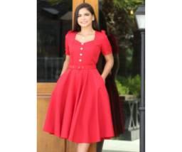 Vestido Godê Alfaiataria Tamanhos P e M na Cor Vermelho
