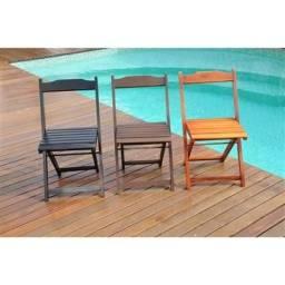 01 Cadeira com Encosto Dobrável em Madeira Naval de Lei 59,00 por apenas 49,00