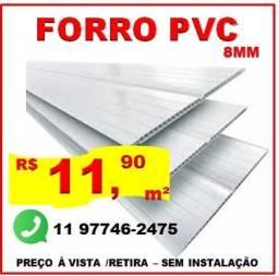 Forro de PVC cor Branco Neve - 8mm - Sem Instalação