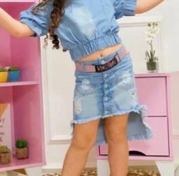 Saia jeans luxo