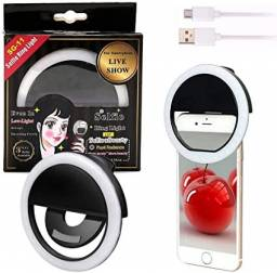 Luz de Selfie Ring Light Anel Led Flash Celular Tablet Smartphone Recarregável