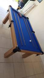 Mesa Tentação MDF Cor Cerejeira Tecido Azul Mod. TDIP4639