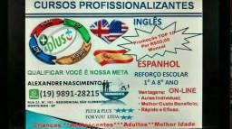 Curso Inglês ou Espanhol On-Line Individual por R$50,00 pôr mês.