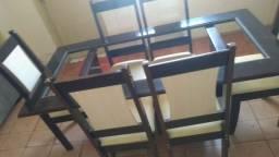 Mesa 6 cadeiras tampo de vidro