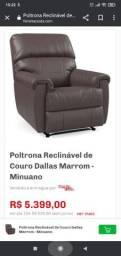 Poltrona Reclinável de Couro Dallas Marrom - Minuano