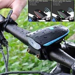 Farol Lanterna Bike Led Recarregável Usb Com Buzina 140db
