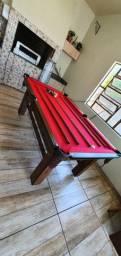 Mesa Tentação Carlin Bilhares Cor Preta Tecido Vermelho Mod. TXRU4678
