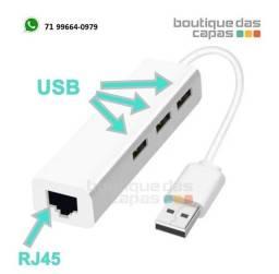 Título do anúncio: Adaptador Com Hub 3 portas Usb 2.0 + 1 porta rede lan rj45 Para Windows Linux le-4102
