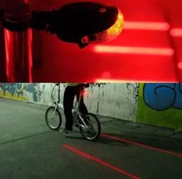 Lanterna Traseira Bike 5 Leds 2 Faixa Laser Ciclovia Virtual