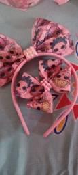 Tiara e laços cada kit 20 reais
