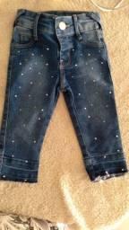 Calca jeans fem infantil tam g