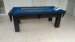 Mesa Madeira Carlin Bilhares Cor Preta Tecido Azul Mod. BUPG5796