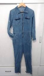 Macacão jeans molinho estilo frentista Tam.M