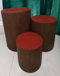 Kit 3 mesas cilindros para fesfa