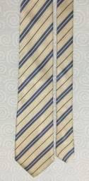 Gravata Brooksfield Italiana Dourada e Azul Seda Usada